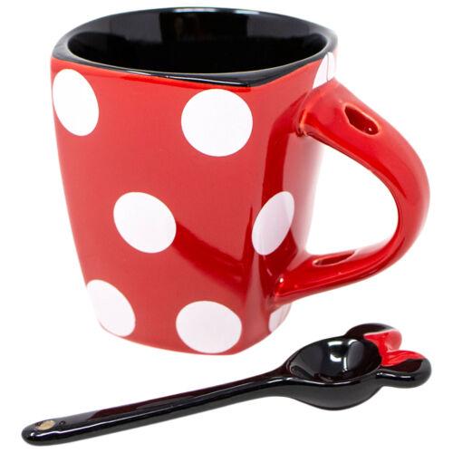 Disney Minnie Mouse Dress Polka Dots 11oz Mug With Spoon Red