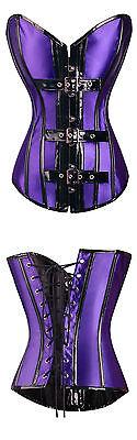Gothic Punk Size S CORSET Black PVC Buckles Violet Satin Bustier
