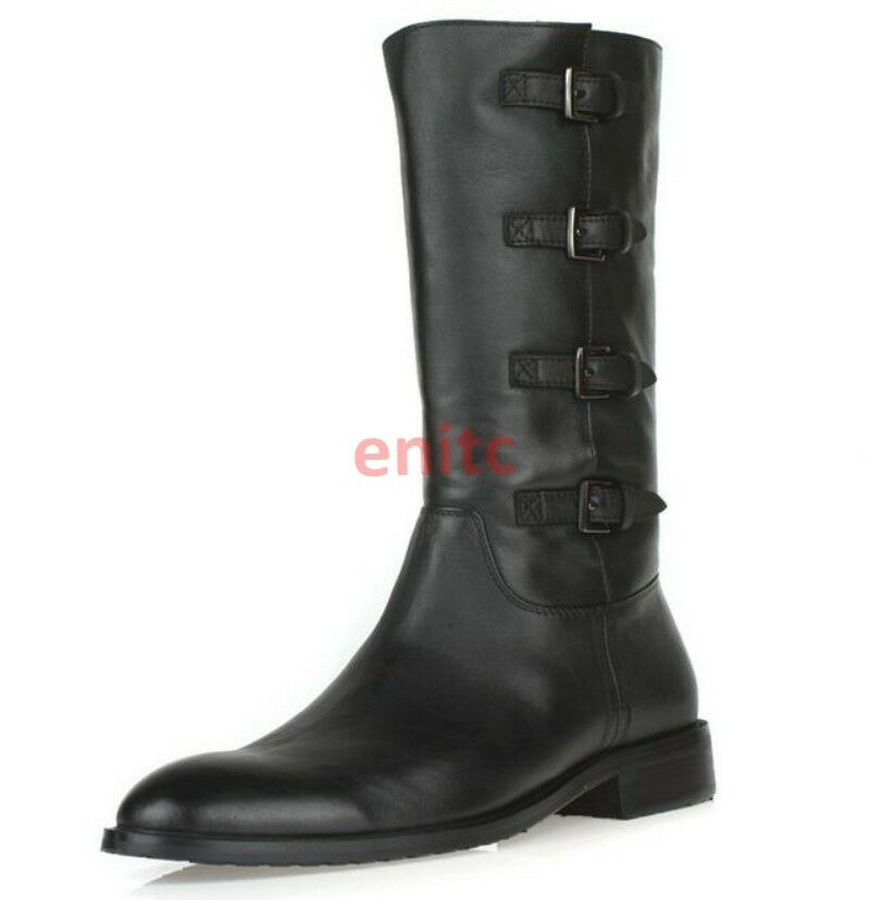 Real Leather Pointy Motorcycle High Top shoes Mens Knight Riding Boots Mid-calf