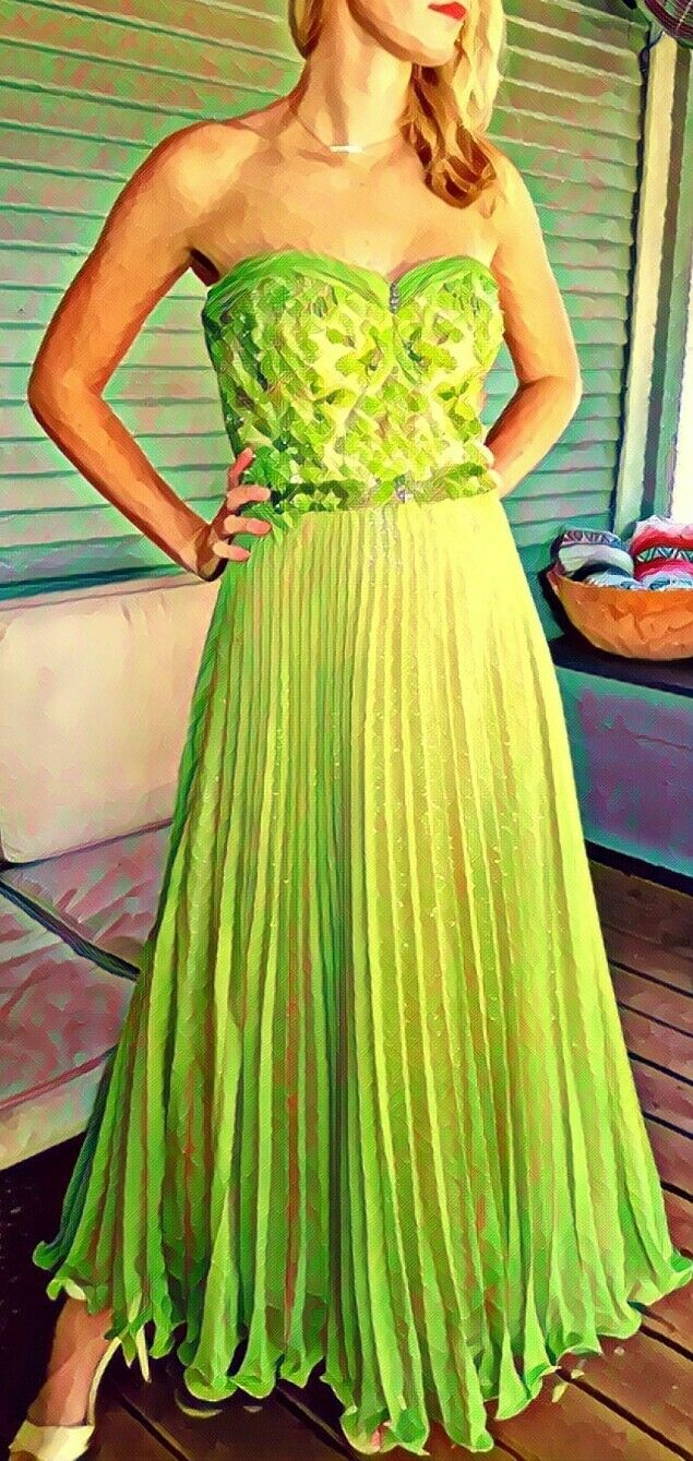*DEADSTOCK VINTAGE DIANE FREIS* NWT Chartreuse Sequin Gown Dress S/M