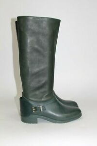 Cole-Haan-Womens-8-B-Tall-Forest-Green-Leather-Waterproof-Boots-Riding-Boots