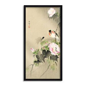 Ohara-Koson-Bird-and-caterpillar-Long-Framed-Art-Print