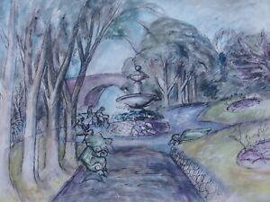 ORIGINAL-WATERCOLOUR-PAINTING-OF-A-GARDEN-PARK-LANDSCAPE-PEOPLE-NATURE