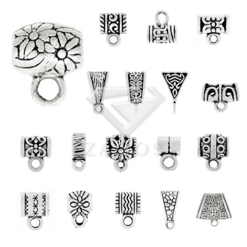3-400pcs Metal Slider Bails Connectors Tibetan Silver Jewelry Findings 21 Style