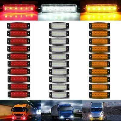30 pcs Yellow 12V 6 LED Side Marker Indicators Lights Lamp Truck Trailer Bus