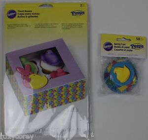 Wilton Easter Peeps 50 Baking Paper Cups 2 Treat Boxes