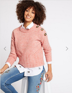 BNWT m/&s Collection Rose Col Rond Bouton Épaule Pull