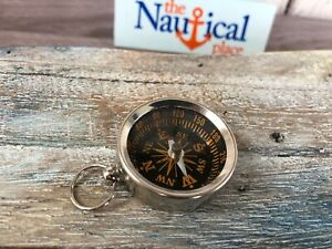 Antique Nautical Brass Compass-Mini Pendent Compass-Silver Finished crom compass