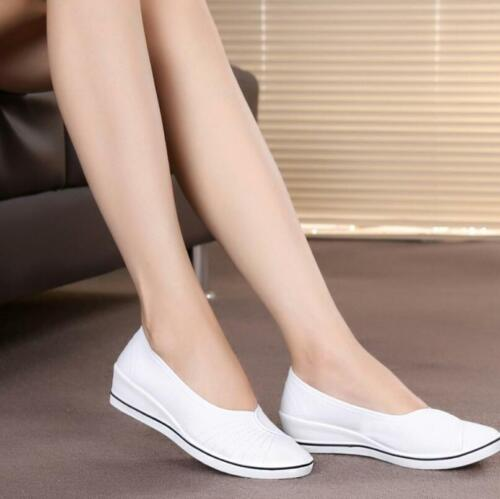 Womens Canvas Slip-On Flats shoes Wedges Pumps Loafers Work Nurse Comfy Shoes