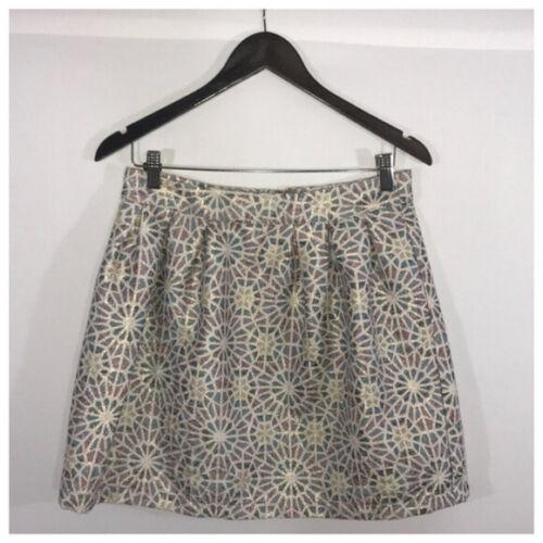 Blue, Cream & Bronze Metallic Mini Skirt Jrs Large