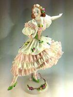 "1920'S LARGE SITZENDORF Dresden Lace German Porcelain Figurine ""THE DANCER"""