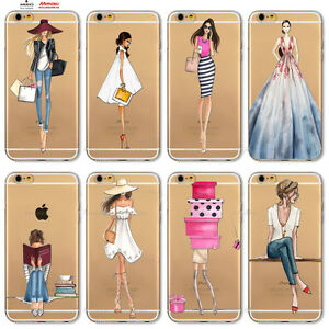 Custodia-Cover-Design-Donna-Vestito-Per-Apple-iPhone-4-4s-5-5s-5c-6-6s-7-Plus-SE