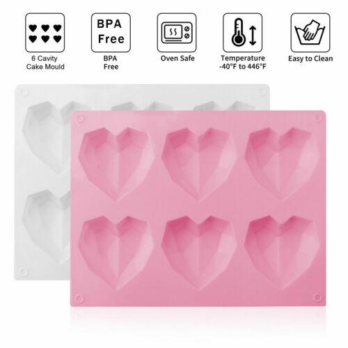 Silicone 3D Heart Shape Fondant Cake Chocolate Baking Mold Mould Modelling Handy