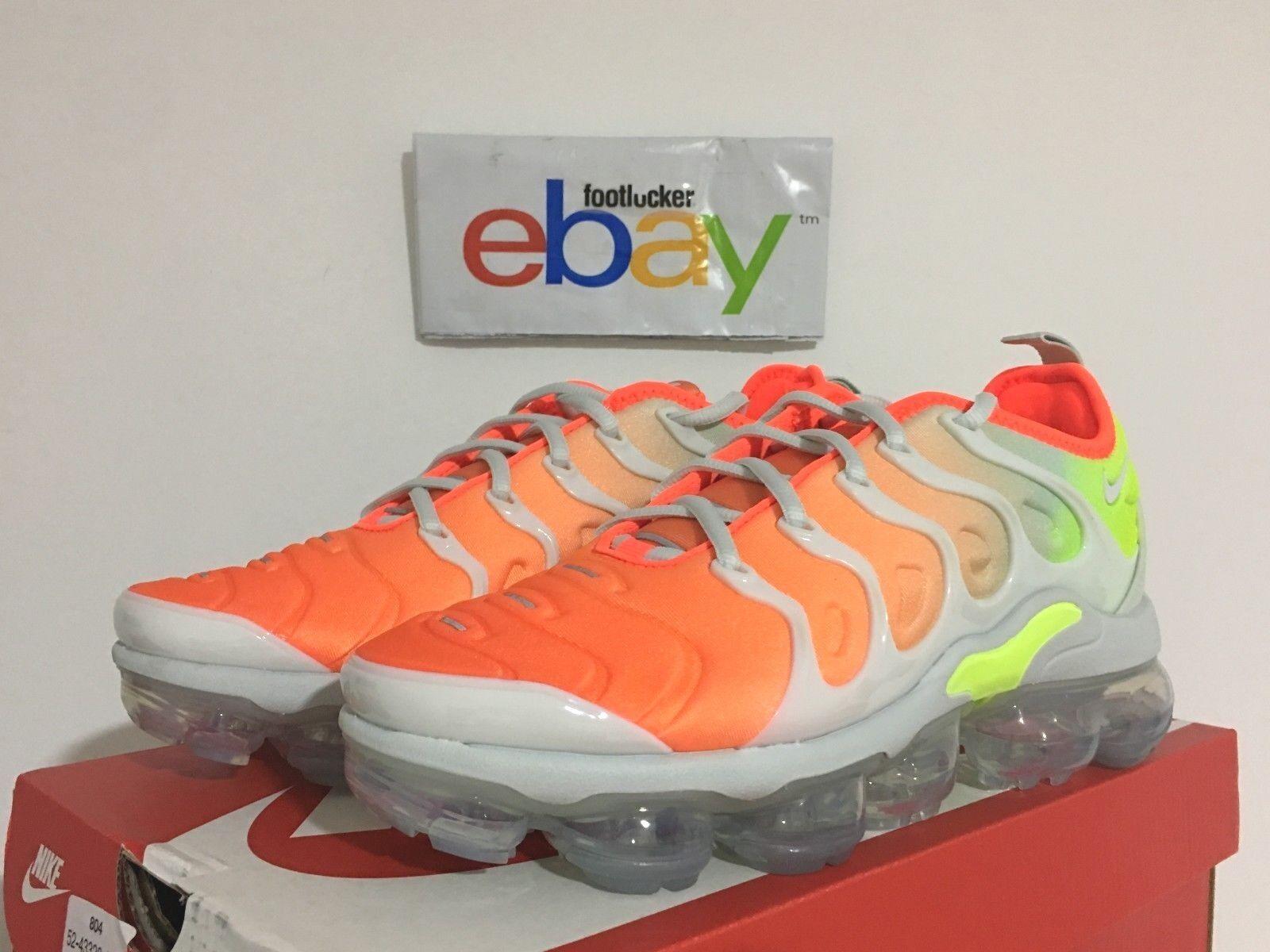 Nike Air Vapormax Plus Reverse Sunset Orange Grey Neon Women's 6-11