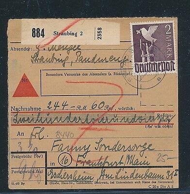 Ab Nn Willensstark 93271 Paketkarte Mif 320pf Taube/arbeiter Ab Straubing 23.4.48