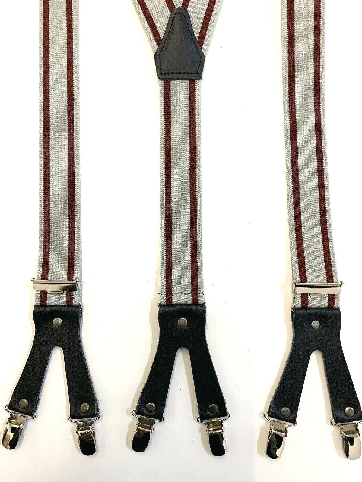 Hosenträger 6 Clip Y Form grau gestreift 35mm Doppel-Clip NeuTop
