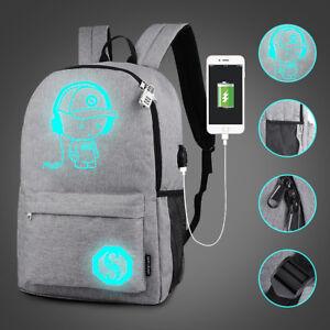 Sac-a-dos-Lumineux-Backpack-USB-Charge-Bandouliere-Laptop-Ecole-Voyage-Antivol
