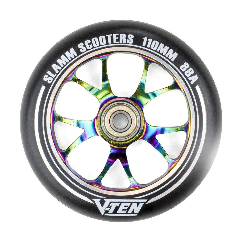 Slamm - 110mm V-Ten II Wheels - Neochrome- Scooter Wheels One Wheel