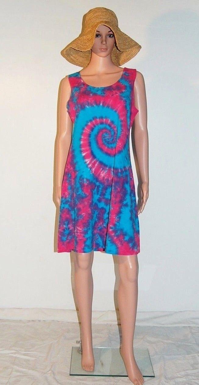 TIE DYE Women's Pink & Turquoise Short Tank Top Dress hippie sm med lg xl 2X 3X