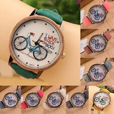 BOYS New Fashion Casual Cute Cartoon Bike Leather Quartz Wrist Watch