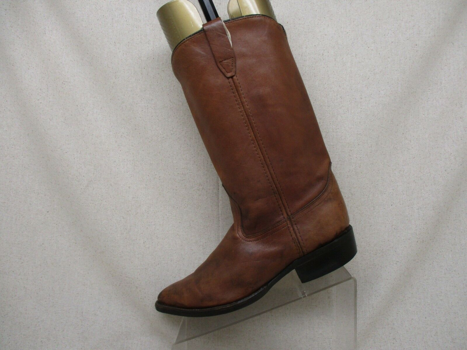 Acme Brown Leather Pull On Cowboy Western Boots Size 9.5 D Style 9098