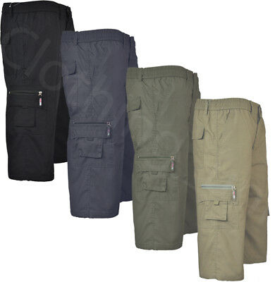 Mens Checked 3//4 Elasticated Waist Long Shorts Cargo Combat Zip Fly M-3XL
