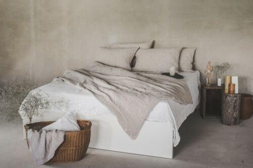Leinen Bettwäsche 100/% Stonewashed Hotelverschluss 135x200 40x80 Natürliche