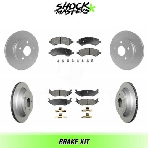 Front /& Rear Ceramic Brake Pad /& Coated Rotor Kit for 2011-2018 Ram 1500
