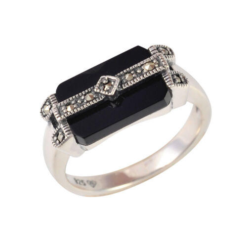 Señoras plata negro Onyx /& Marcasita Anillo Art Deco negrita tamaño S NUEVO