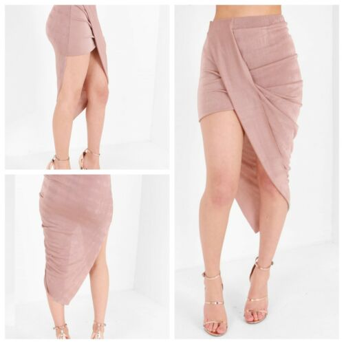 NEW WOMENS Mettalic Rose Pink Slinky Wrap over Asymmetric Midi Side Ruched Skirt