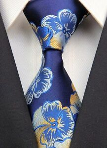 New Navy Yellow Floral Classic JACQUARD Woven 100%Silk Mens Tie Necktie