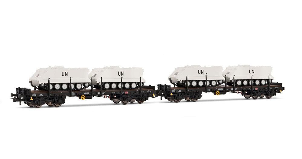SH Rivarossi HR6207 2-teiliges Set Rungenwagen  beladen mit 2 2 2 UN-Panzern    Düsseldorf Eröffnung  b386be
