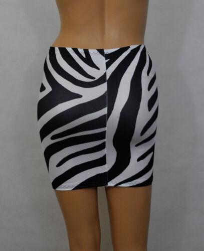 Mini Skirt Zebra Animal Print Black White Lycra Womens Bodycon Party Club S143