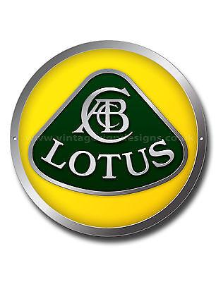 """LOTUS 11/"""" ROUND METAL SIGN.LOTUS SPORTS CAR,VINTAGE LOTUS CARS,CLASSIC LOTUS CAR"""