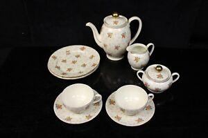 9-tlg-Porzellan-Kaffeeservice-Seltmann-Weiden-elfenbein-Blumen-Service-2-Pers