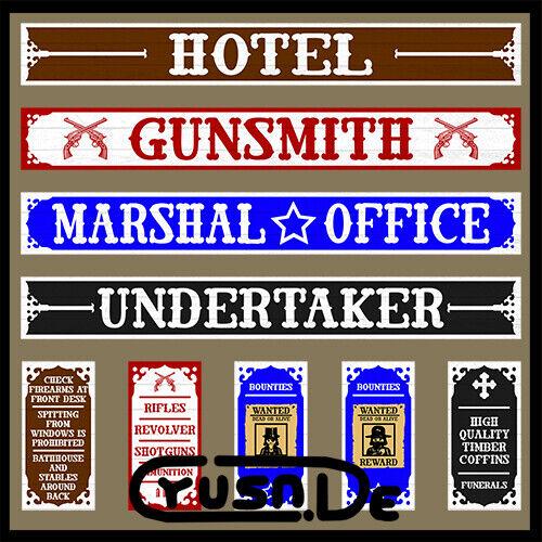 Playmobil Western Custom Sticker Western Gebäude Aushang Aufkleber Schild