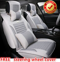 Breathable Cotton Grey Car Seat Cover Front Back Audi A1 A3 A4 A5 A6 Q3 Q5 Q7