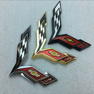 Metal Crossed Flag Decal Emblem For Corvette C7 Stingray Badge Sticker Emblems