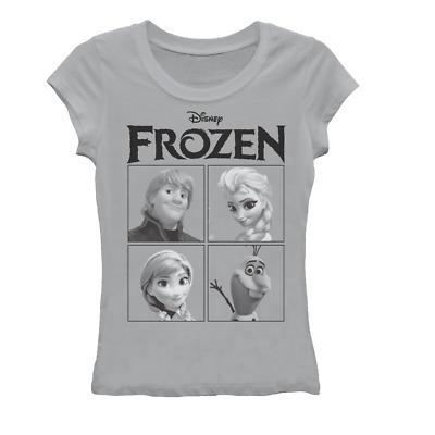 Disney Frozen Group Shot Girls Grey T-Shirt
