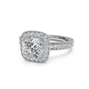 1.20 Ct Cushion Moissanite Engagement Superb Ring 18K Solid White Gold Size 9
