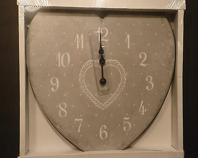 "Heart Clock Silver Face with White numbers & Dots 12""H X 11.5""W-Any Room-Battery"