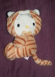 Peluche Hello Kitty deguise en chat tigre marron Sanrio 18 cm en TBE