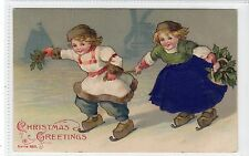 """CHRISTMAS GREETINGS"": Embossed postcard with applique purple silk (C15501)"