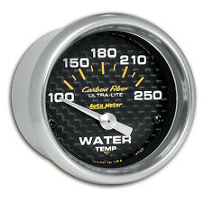 Autometer 4737 Carbon Fiber Water Temp 2 1/16'' Gauge 100-250 Deg F Short Sweep
