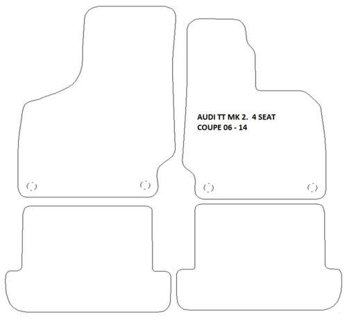 AUDI TT MK2 06-14 COUPE BLUE EDGE /& 4 CLIPS BLACK QUALITY RUBBER MATS 8J3
