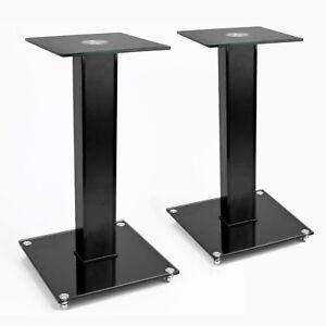 TekBox-2x-SPEAKER-STAND-Modern-Black-Glass-Platform-Surround-Sound-TV-Units