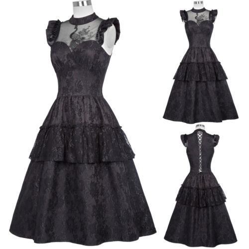 Viktorianische Damen 1920er Jahre Retro Steampunk Gothic Abend Party Swing Kleid