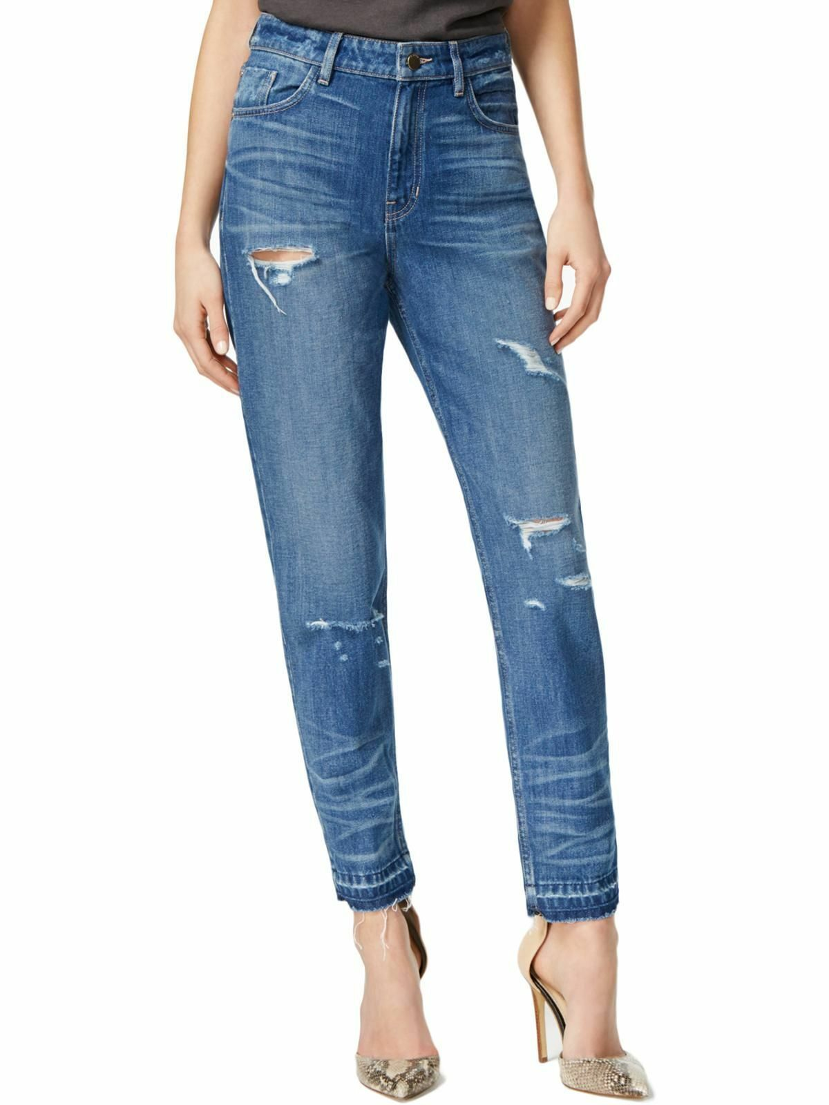 GUESS 9748 Womens Distressed Skinny Jeans - Medium Wash Size 24