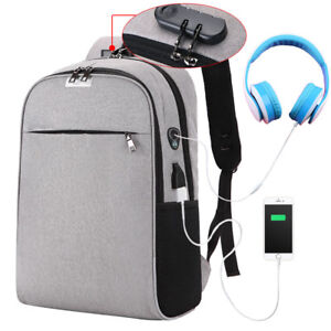 9d6ccc93eb51 Image is loading Anti-Theft-USB-Charging-College-Students-Backpack-School-