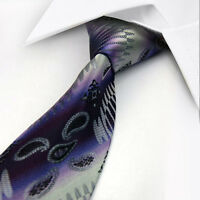 ST248 Grey Purple Paisley New Classic Silk WOVEN JACQUARD Men's Tie Necktie
